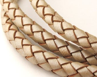 LBOLO0365623) 6.5mm Pearl Metallic Genuine Braided Bolo Leather Cord.  1.1 meter, 3 meters, 5 meters.  Length Available.