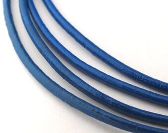 LRD0120006) 2.0mm Blue Round Leather Cord.  1 meter, 3 meters, 5 meters, 10 meters.  Length Available
