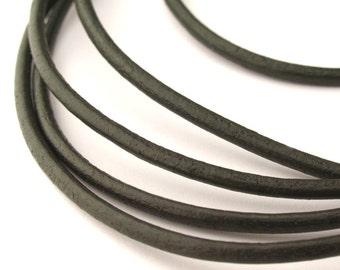 LRD0120018) 2.0mm Hunter Genuine Round Leather Cord.  1 meter, 3 meters, 5 meters, 10 meters.  Length Available.
