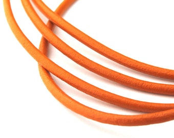 LRD0120021) 2.0mm Marigold Genuine Round Leather Cord.  1 meter, 3 meters, 5 meters, 10 meters, 20 meters.  Length Available.