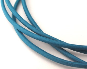 LRD0120024) 2.0mm Sky Blue Genuine Round Leather Cord.  1 meter, 3 meters, 5 meters, 10 meters.  Length Available.
