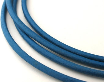 LRD0120173) 2.0mm Steel Blue Genuine Round Leather Cord.  1 meter, 3 meters, 5 meters, 10 meters, 20 meters.  Length Available.