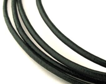 LRD0120202DG) 2.0mm Dark Green Genuine Round Leather Cord.  1 meter, 3 meters, 5 meters, 10 meters.  Length Available.