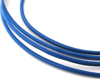 LRD0115006) 1.5mm Blue Genuine Round Leather Cord.  1 meter, 3 meters, 5.4 meters, 8.1 meters.  Length Available.