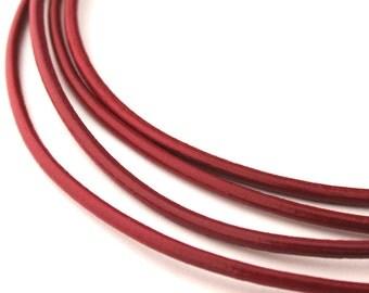 LRD0115009) 1.5mm Corida Genuine Red Round Leather Cord.  1 meter, 3.3 meters, 5.1 meters, 13.1 meters.  Length Available.