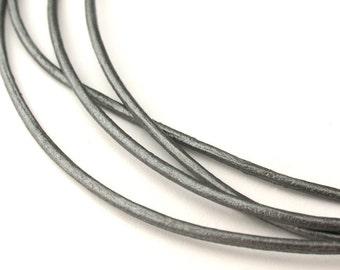 LRD0115047) 1.5mm Grey Genuine Metallic Round Leather Cord.  2 meter, 3 meters, 5 meters, 7.7 meters.  Length Available.