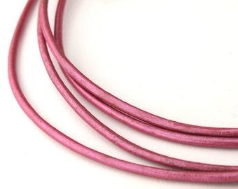 LRD0115061) 1.5mm Fruit Punch Genuine Metallic Round Leather Cord.  1 meter, 3.6 meters, 5 meters, 10.6 meters.  Length Available.