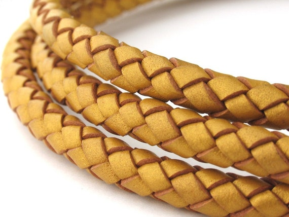LBOLO0370624) 1 meter of 7.0mm Gold Metallic Braided Bolo Leather Cord