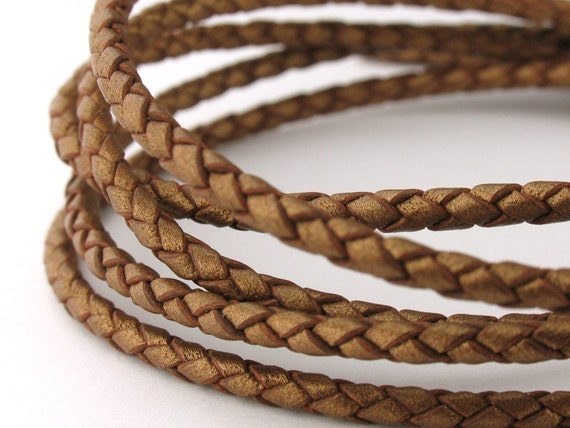 LBOLO0325626) 1 meter of 2.5mm Bronze Metallic Braided Bolo Leather Cord