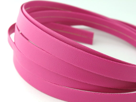 LLFlat2165024) 1 meter of 6.5mm Pink Flat Leather Like Cord