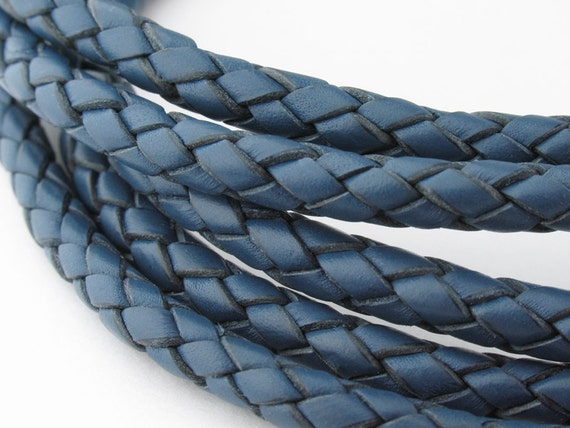 LBOLO0350638) 5.0mm Iris Blue Genuine Braided Bolo Leather Cord.  1 meter, 3.6 meters.  Length Available.