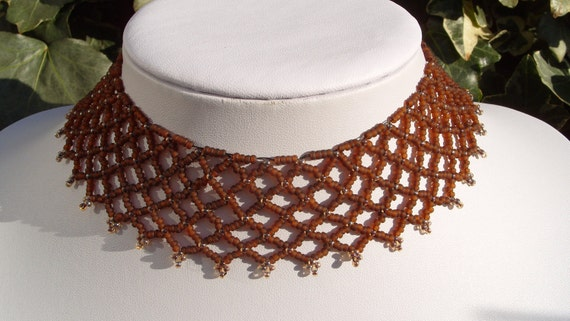 Brown necklace, Pretty Lacy type choker/necklace, glass beaded jewelery