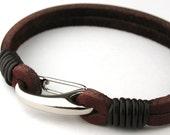 "MCBC010139) 3mm Genuine Flat Leather 316L Stainless Steel Shrimp Clasp Bracelet (19cm / 7 1/2"")"