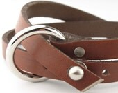 BC010121) 18-21cm 316L Stainless Steel Nail Clasp Flat Leather Bracelet