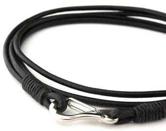 "MCBC010430) 2mm Genuine Round Leather with Stainless Steel Shrimp Clasp Bracelet (21cm / 8 1/4""), Leather Bracelet, Black Leather Bracelet"