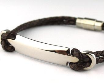 BC010213) 20cm Genuine Plait Braided Bolo Leather Bracelet with Stainless Steel Clasp, Leather Bracelet, Dark Brown Leather Bracelet Armband