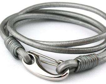 BC010405) 316L Stainless Steel Shrimp 3mm Genuine Metallic Round Leather Bracelet (19cm length), Leather Bracelet, Metallic Silver Leather