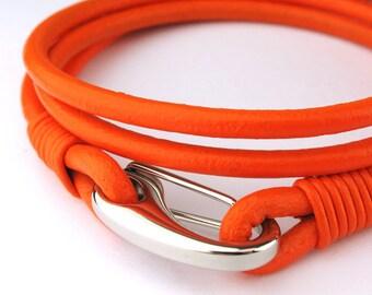 "MCBC010458) 3mm Genuine Round Leather with Stainless Steel Shrimp Clasp Bracelet (19cm / 7 1/2""), Leather Bracelet, Orange Leather Bracelet"
