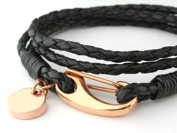 """MCBC010253) 3mm Genuine Braided Bolo Leather 316L Stainless Steel Shrimp Clasp with Round Charm Bracelet (19cm / 7 1/2""""), Leather Bracelet"""