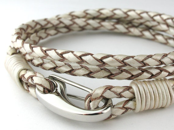 "MCBC010250) 3mm Genuine Metallic Braided Bolo Leather 316L Stainless Steel Shrimp Clasp Bracelet (19cm / 7 1/2""), Leather Bracelet, Pearl"