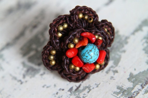 "Weaving flower ring ""Red coral and Turquoise"""