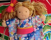Blue Flowers kimono for a 15 inch Waldorf inspired doll PLEASE READ the Description below