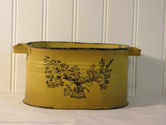 Yellow Metal Planter Shabby Vintage Tree