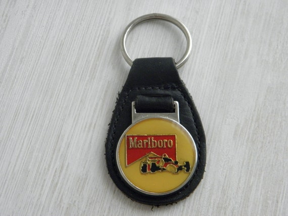 Vintage Marlboro Leather Keychain Race Car Father's Day Gift Race Fan Men's Accessories