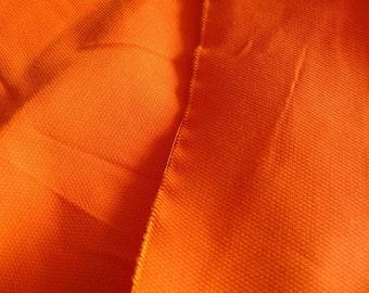 "silk fabric, brilliant orange silk cotton blend fabric, half yard by 44"" wide, EASY to FADE"