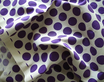 "silk fabric, Polka dots print Ribbed silk cotton blend fabric, half yard by 45"" wide"