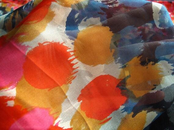 "Silk fabric, colorful dots 100% silk chiffon fabric, 25"" by 55"" each panel"