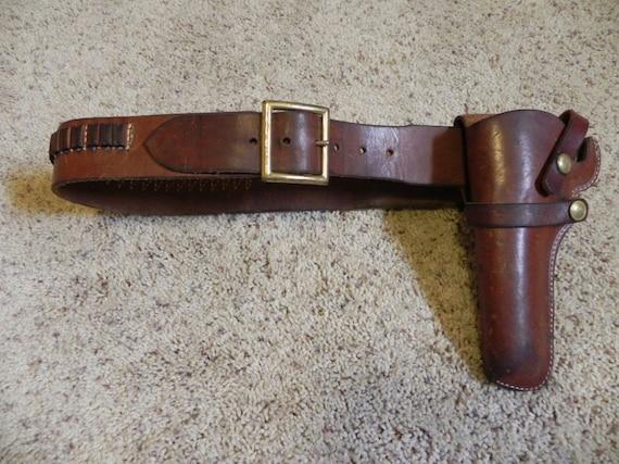 Hunter .22 Caliber Leather Left Hand Holster and Cartridge Belt