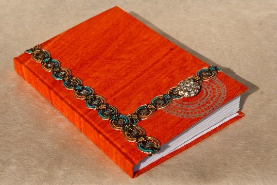 Orange Handmade Journal - Art Journal Notebook - Blank Book - Unique