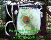 hand painted metallic PEACOCK feather Bag- with crystals mini bag, cozy carry your cell, mp3
