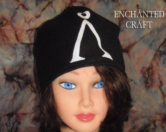 Fleece black Stargate beanie hat with sewn white earth glyph symbol