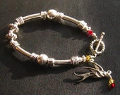Phoenix Bracelet : Swarovski Crystal Phoenix Bird and Antiqued Silver Bangle Bracelet, Cancer Awareness, Phoenix Jewelry