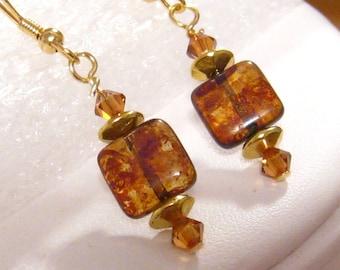 Brown Lampwork Earrings, Brown Earrings, Light Brown Venetian Glass Earrings, Petite Swarovski Earrings, Dangle Earrings