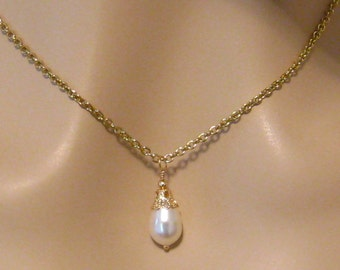 Pearl Bridal Necklace: Petite Cream Pearl Pendant with Antiqued Gold Victorian Filigree Bridal Wedding Jewelry Bridesmaids Gift, Graduation