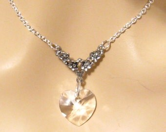Clear Swarovski Crystal Heart Necklace - Victorian Bridal Wedding Jewelry, Bridesmaids Gift, Formal, Prom Jewelry