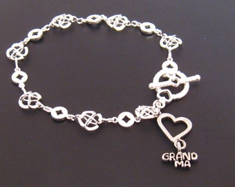 Grandmother Bracelet Silver Grandma Bracelet Heart Grandma Charm, Grandma Gift, Grandmother Bracelet