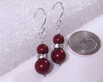 Red Pearl and Crystal Rhinestone Bridesmaids Earrings: Swarovsky Bordeaux Apple Red Wedding Jewelry, Sterling Silver, Bridesmaids Gift