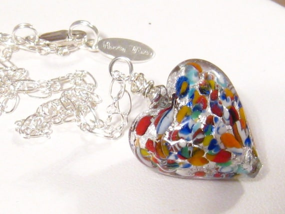 Reserved for Erin:  Murano Venetian Heart Necklace, Klimt Multi-Colored Heart Pendant, Venetian Murano Glass Necklace