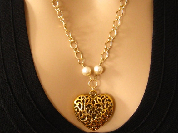 Large Gold Heart Necklace: Victorian Antiqued Gold Filigree Heart Pendant and Pearl Necklace - Romantic Jewelry, Cleavage