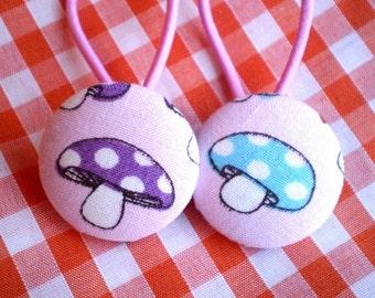 SALE! pair Mushroom fabric button Ponytail Holders x 2 Large