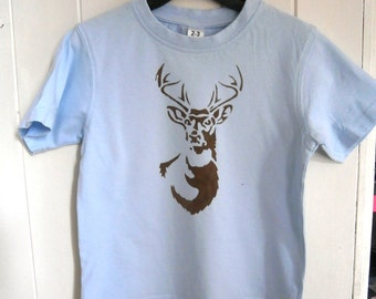 Stag deer stencil Tshirt for Boy 2-3 years