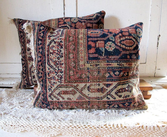 Oriental Rug Pillow, Navy and Rose No. 4