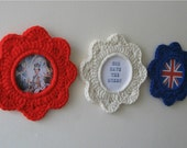 SALE - 35% off - Stars and Stripes. Set of 3 crochet picture frames