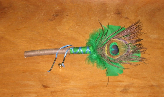 Peacock Feather Smudge Wand