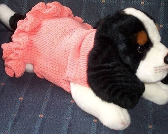 "PDF Download Knit Pattern for ""Party Dress"" Sweater for Small Breed Dogs"