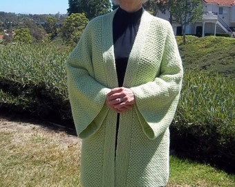 PDF Download Knit Pattern for the Easy Ripple Stitch Kimono Sweater/Jacket - One Size Fits Sizes Small through Large